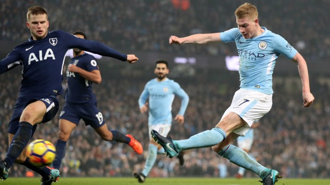 NO STOPPING THAT! De Bruyne scores against Spurs in December 2017