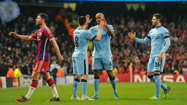 NIGHT TO REMEMBER: Bayern beckoned again in the group stage, as Kompany celebrates a famous fight back at the Allianz Arena.
