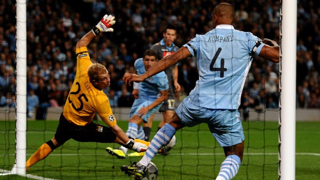 LAST DITCH: Making a goal line clearance in the 1-1 draw with Napoli on our Champions League debut.