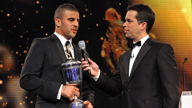 Collecting the PFA Young Player of the Year award in 2012