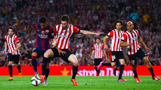 BATTLING: In action against Barcelona in the 2015 Copa del Rey final, which Bilbao lost 3-1.