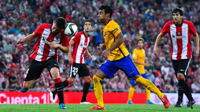 BRAVERY: Winning a header as Bilbao record a 4-0 victory over Barcelona in the first leg of the 2015 Supercopa de Espana.