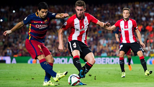 BLOCK: Laporte played 180 minutes over the two legs as the Basque club won 5-1 on aggregate to lift the trophy.