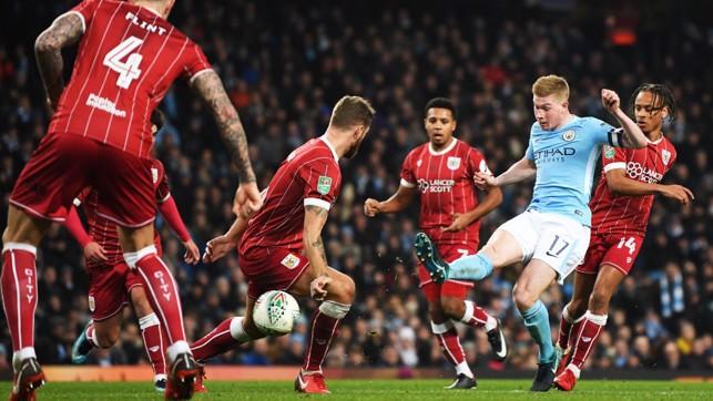 EQUALISER: Kevin De Bruyne levels against Bristol City at the Etihad.