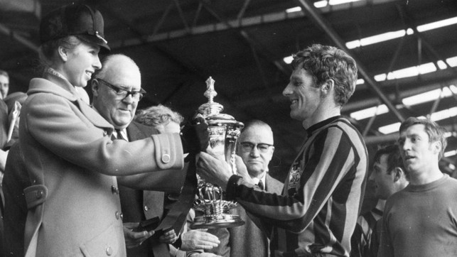 1969: Tony Book is handed the FA Cup trophy by Princess Anne.