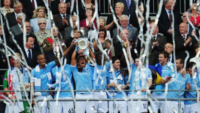 2011: The FA Cup trophy lift after beating Stoke City.