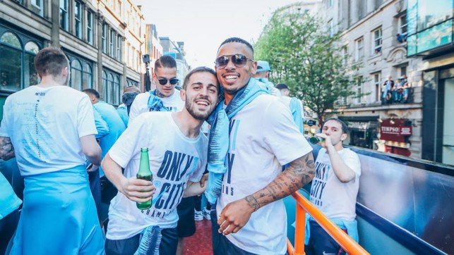 DUO: Bernardo and Jesus get together to celebrate their first Premier League title!
