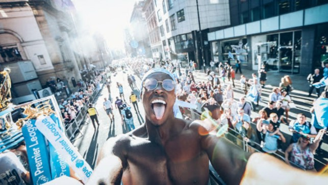 SELFIE: Mendy steals the camera for a shot with the fans.