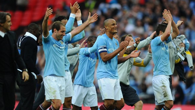 SEMI-FINAL SUCCESS: City secure a place in the FA Cup final thanks to Yaya Toure's winning goal v United in 2011.