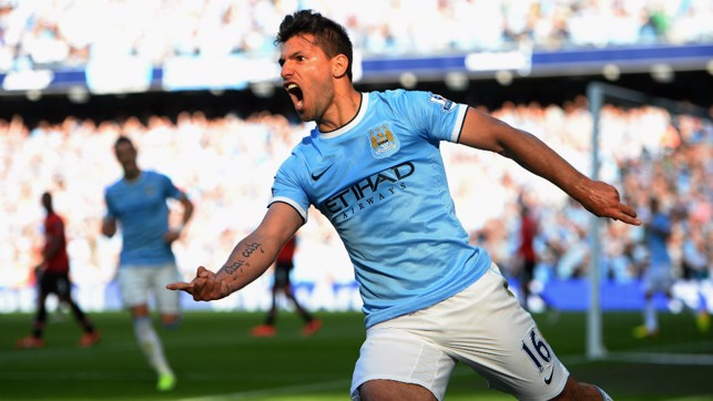 SERGIO BRACE: Aguero netted two out of the four City goals back in 2013.