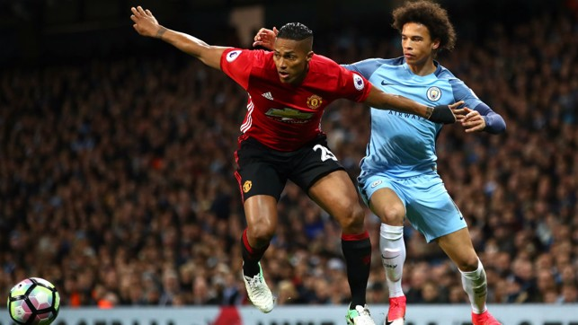 LAST TIME: Leroy Sane in action during our last home Manchester derby.