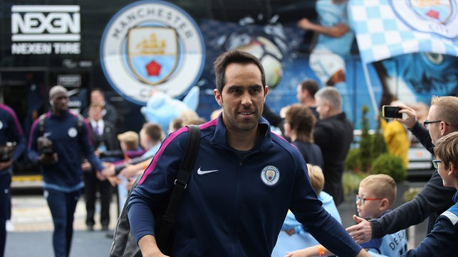 ARRIVAL: Bravo greets the fans at the Etihad Stadium