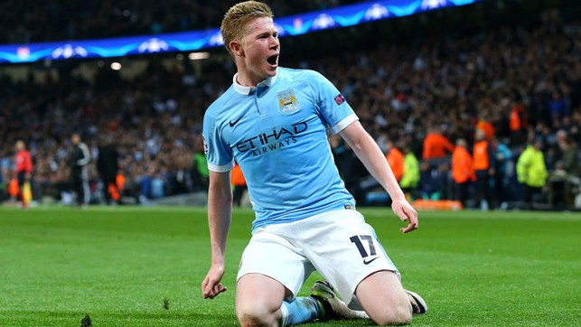 WINNER: KDB bags the vital goal that sees City go through to their first ever Champions League semi-final. They beat the Parisians 1-0 on the night and 3-2 on aggregate.