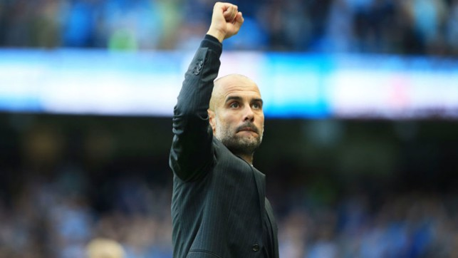 TOP FLIGHT: Guardiola celebrates his side's 2-1 win during his first Premier League game in charge v Sunderland.