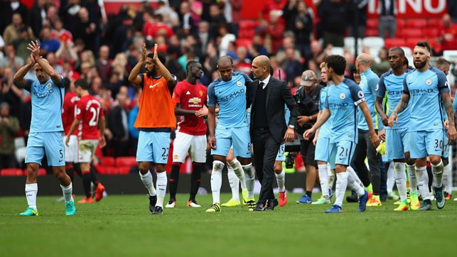 DERBY DEBUT: Guardiola's first Manchester derby ended in a 2-1 win over our near neighbours.