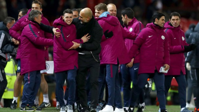 MANCHESTER: Pep celebrates with Phil Foden following City's derby win back in December 2017.