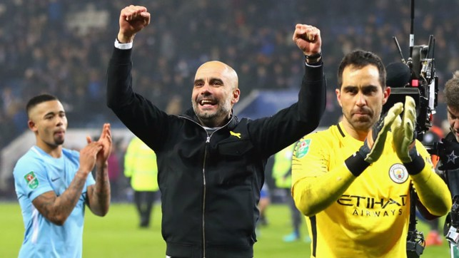 SEMI-FINAL: Guardiola celebrates after City seal a place in the Carabao Cup semi-finals after a win on penalties against Leicester.