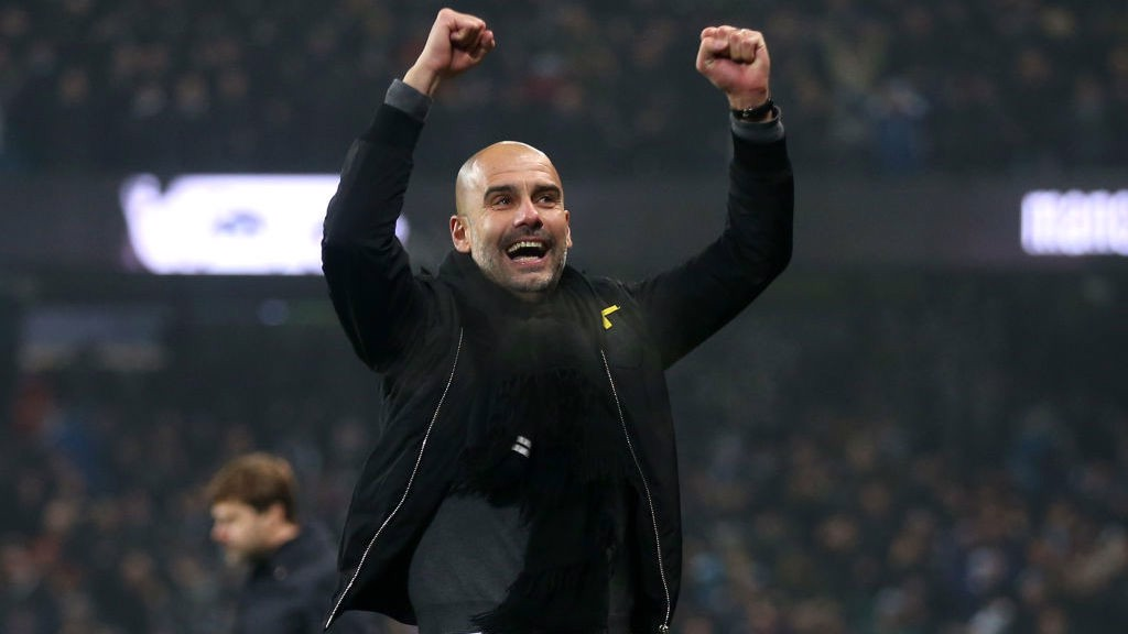 HOME WIN: The victories kept on coming throughout the first half of the 2017/18 season, and Pep celebrates a 4-1 win over Tottenham.