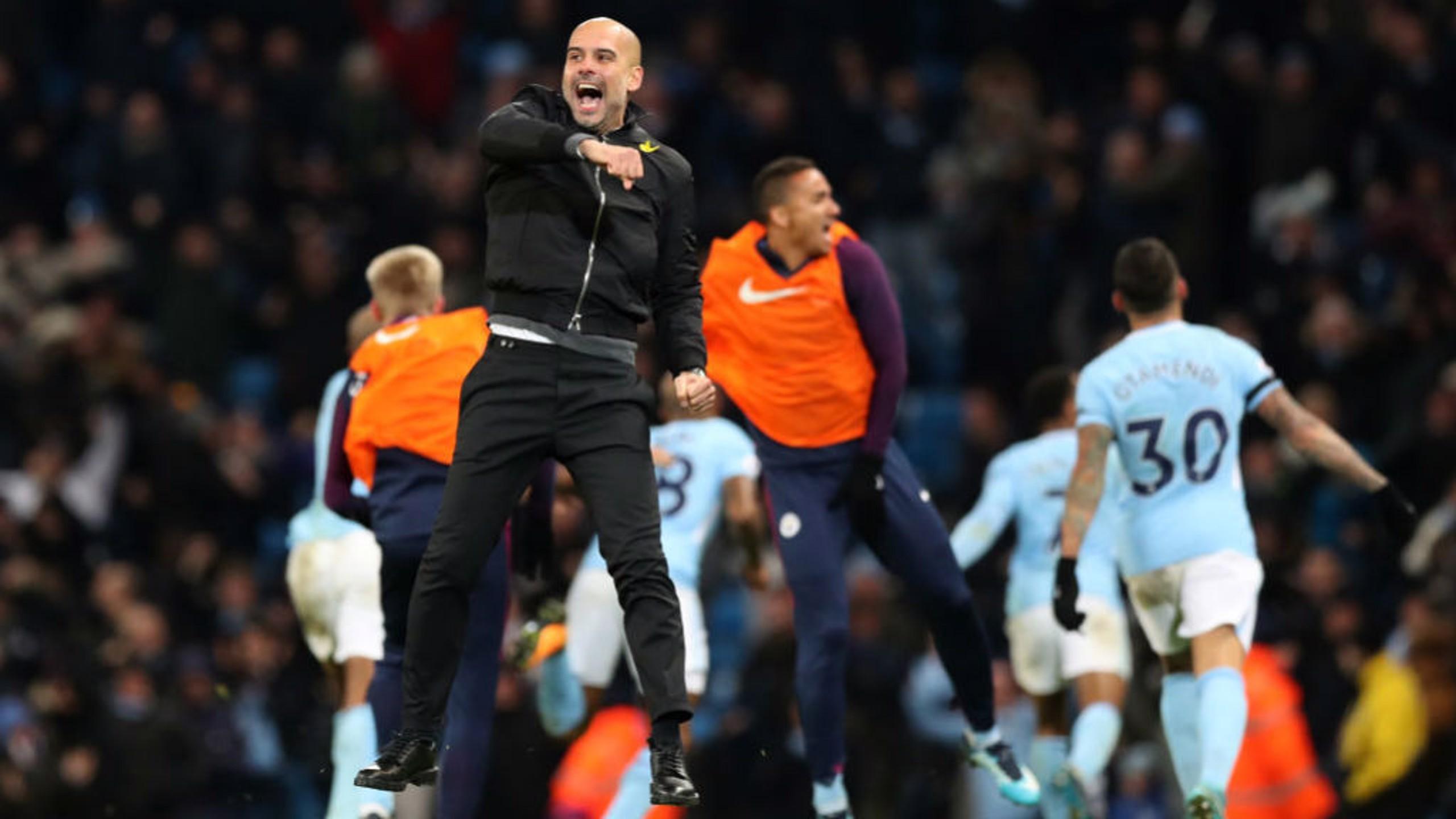 Pep celebra el gol en el último minuto contra el Southampton.