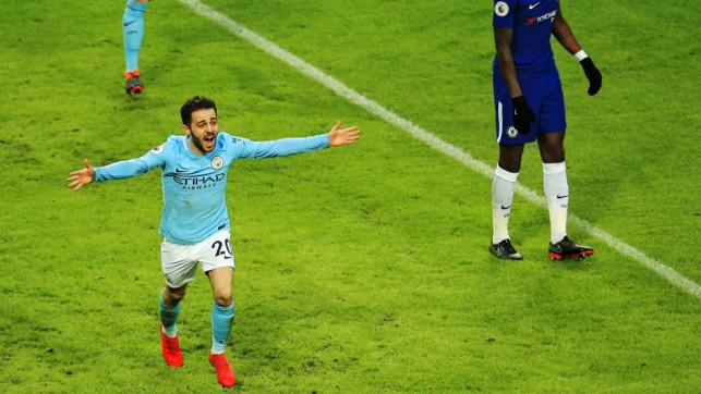 SILVA SERVICE: Bernardo's winner against Chelsea in March was a vital moment