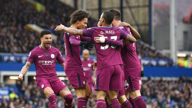 GETTING CLOSER: City celebrate our 3-1 win over Everton knowing the title is getting ever closer