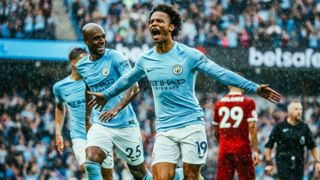 SUPER SANE: Leroy celebrates after scoring against Liverpool during our 5-0 win at the Etihad.