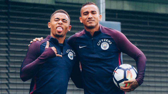 THESE TWO: Gabriel Jesus and Danilo spot the camera