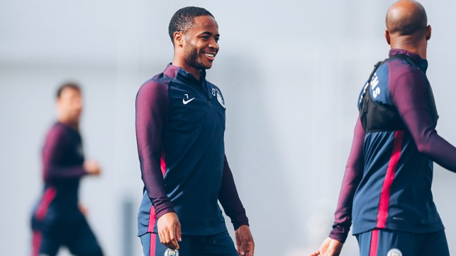 SHINING STERLING: All smiles for Raheem