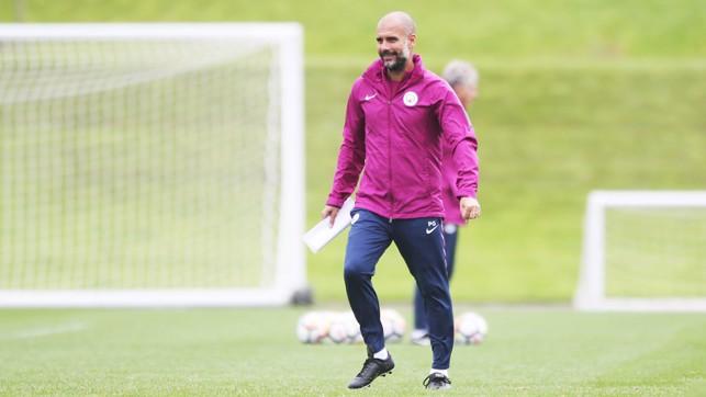 THE BOSS: Pep Guardiola enjoys the session