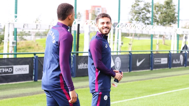 BEAMING BERNARDO: Silva smiles as he heads out