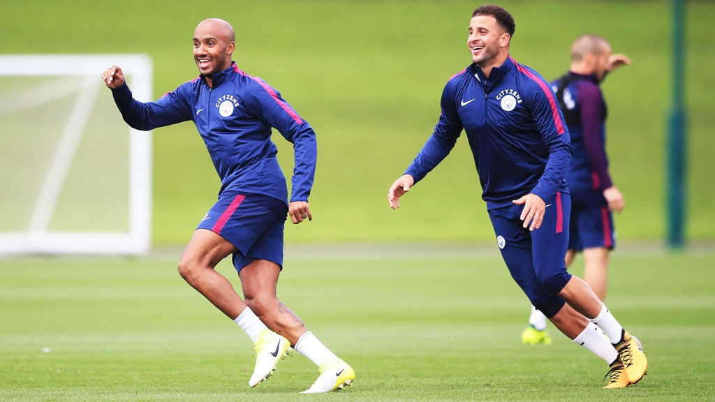 ON YOUR MARKS! Fabian Delph and Kyle Walker