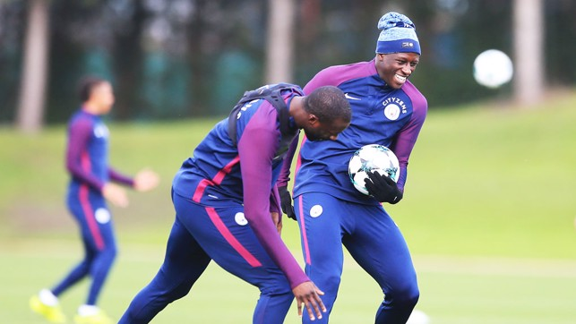 HAPPY DAYS: Toure and Mendy