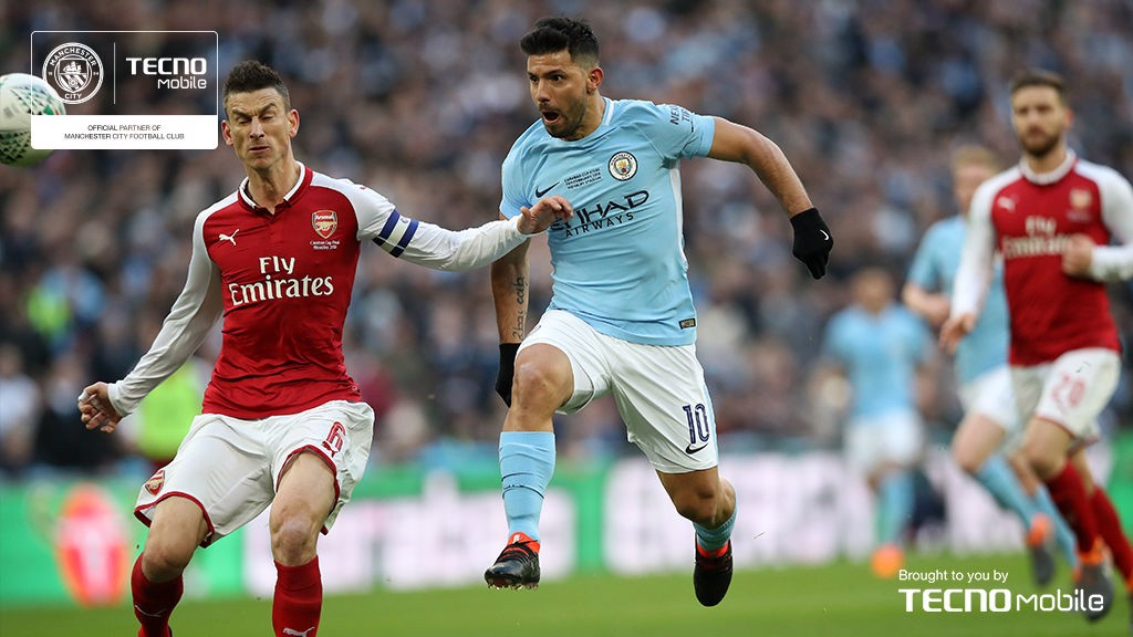 CUP CRACKER: Sergio showed his lethal finishing instincts as he set City on the road to a 3-0 victory in the Carabao Cup final against Arsenal at Wembley in late February. Latching onto Claudio Bravo's long goal-kick, he powered past the Gunners defence before executing a deft lob.