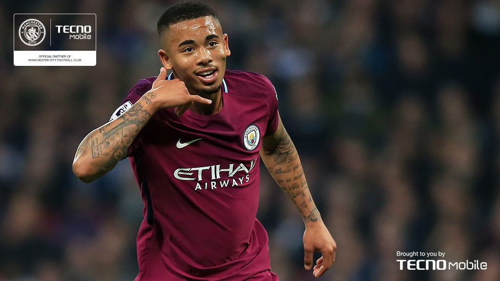 JUST CAPITAL: Gabriel Jesus adopts his trademark phone celebration after a sublime piece of skill helped give City the lead away at Tottenham in early April. It set us on the road to a wonderful 3-1 victory at Wembley… and 24 hours later we were confirmed as champions after Manchester United's loss to Wes Brom.