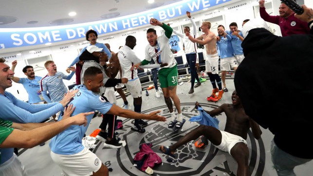 JOKING AROUND: Fun and games in the dressing room.