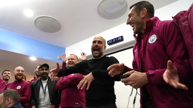 THE BOSS: Pep and his coaching staff wish Yaya farewell.