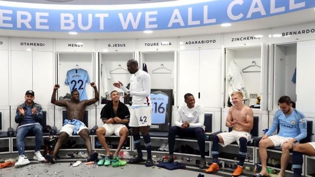 SPEECH: Yaya addresses his team mates.