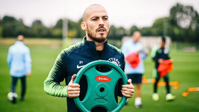 DISC MAN: David Silva in training