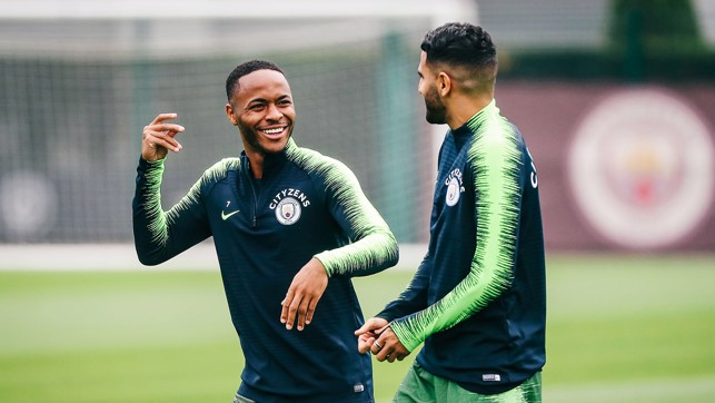 R&R: Sterling and Mahrez share a joke