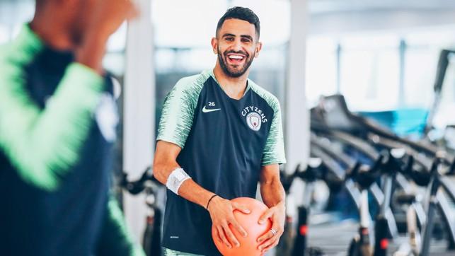 HAVING A BALL: An amused Riyad Mahrez