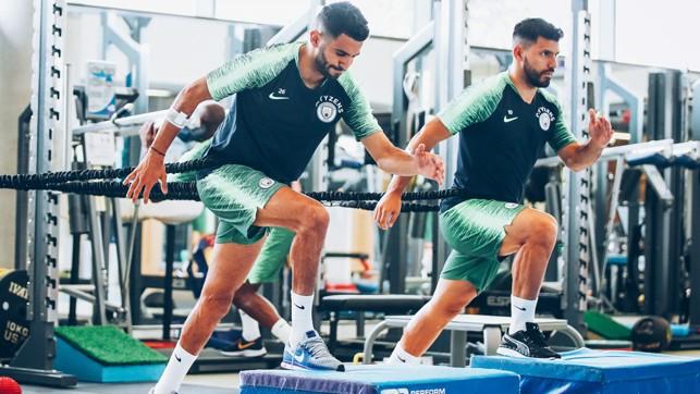 TALL ORDER: Riyad Mahrez and Sergio Aguero step up to the challenge