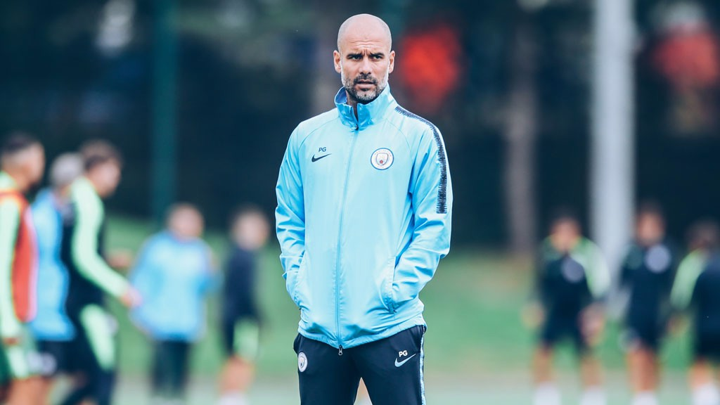 BOSS MAN: Pep watches his players closely