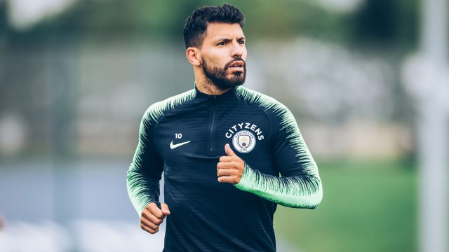 AGUEROOOOOO: Fresh from a hat-trick, Sergio looks in the mood for more goals