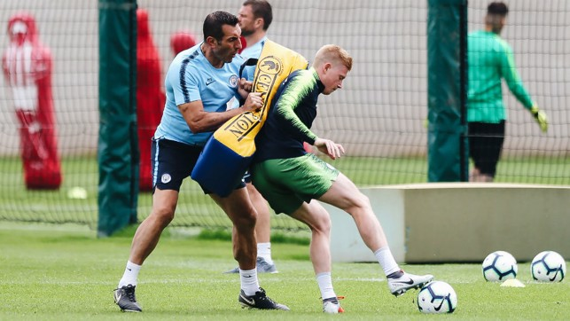 SHADOWPLAY: Kevin De Bruyne works on his close-quarter skills