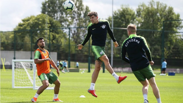 CENTRE OF ATTENTION: John Stones takes to the CFA skies