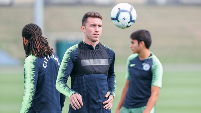 ON THE BALL: Aerial practice for Aymeric Laporte