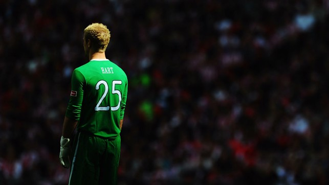 FINAL: An artistic shot of Hart during the FA Cup final in 2011.