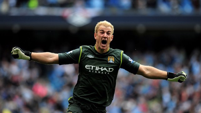 93.20: Hart goes wild after Sergio Aguero's goal to seal the title!