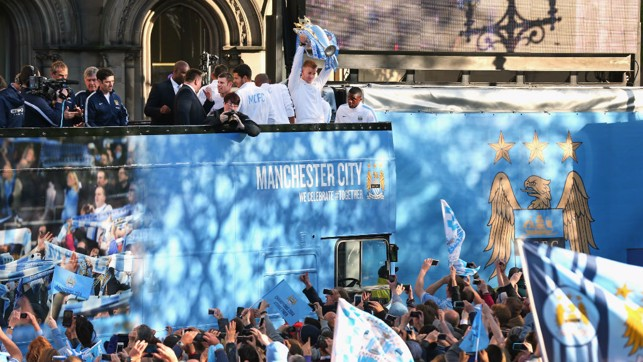 PARADE: Celebrating with the fans.