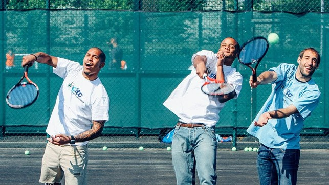 TIME FOR TENNIS: Kompany tests out his forehand.